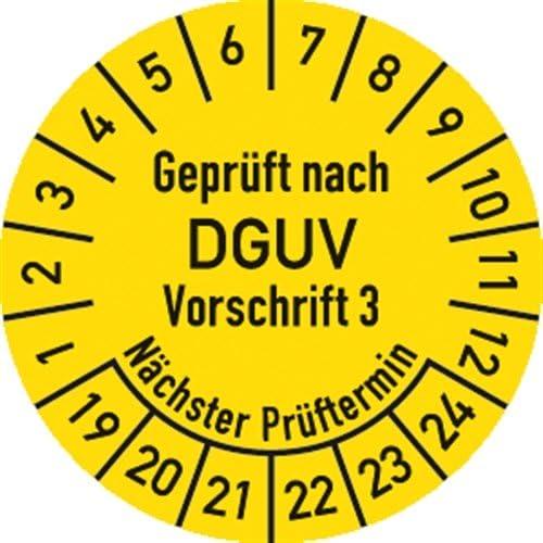 Prüfplaketten Geprüft alt BGV A3 jetzt NEU DGUV V 3 Ø:20mm1000 Stück 5061-22