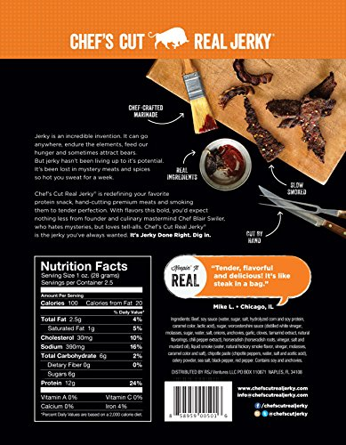 Chef's Cut Real Steak Jerky, Chipotle Cracked Pepper, 2.5 Ounce