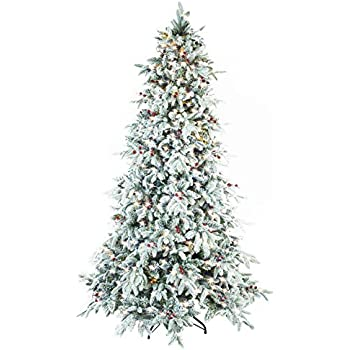 abusa flocked snow pepvc mixed pine artificial christmas tree 9ft prelit with 900 ul