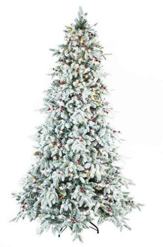 Pvc Pre Lit Christmas Tree - ABUSA Flocked Snow PE/PVC Mixed Pine Artificial Christmas Tree 9ft Prelit with 900 UL Warm White LED Lights Metal Stand