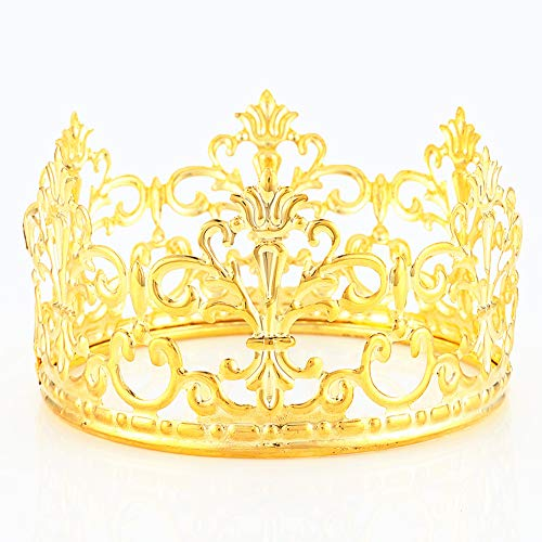 HYOUNINGF Gold Crown Cake Topper Elegant Cake Decoration For King, Queen, Prince And Princess Themed Parties, Royal Birthday Cake Decoration -