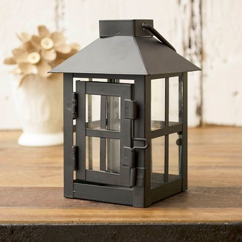 Hurricane Lantern, Small 3 x 5.5 inch, Metal with Glass Side