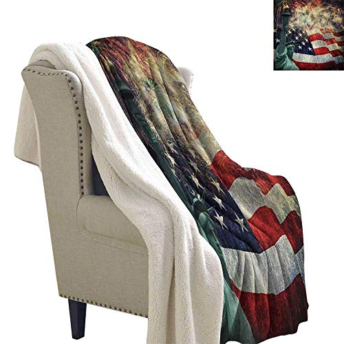 American Flag Lightweight Blanket Composite Photo of States Idols with Fireworks on Background 4th of July Fuzzy Blankets 60x78 Inch Multicolor