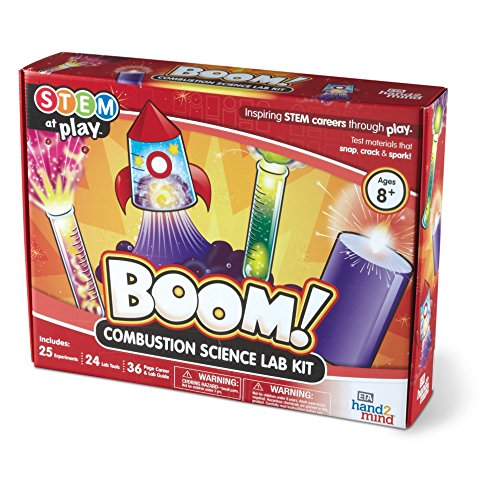 Boom! Combustion Science Kit, 25 Stem Experiments & Activities for Kids, Make Your Own Explosions, Rockets, & Colorful Liquids | Fun Gift for Girls & Boys | Educational Toy