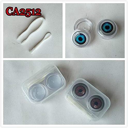 CA2512 Anime Eyeball Deco Crystal Contact Lens case//Box Contact Lenses Soaking case Portable Plastic eye Pattern Eye Care kit Container Mini Stylish Simple Contact Lens Travel Case 2pcs//lot
