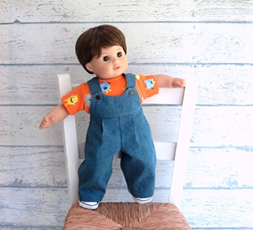 15 inch Boy Doll Little Monster Tee Shirt with Denim Overalls