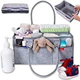 Groverly Baby Diaper Caddy Organizer - Baby Gift Basket | Portable Nursery Changing Table Storage Bag | Removable Handles Grey | Arts Craft Toy Caddy