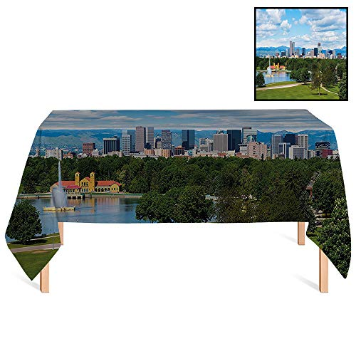 SATVSHOP Tablecloth Heavyweight /24x24 Square,Urban City Park at Denver Colorado Downtown Tree and Architecture Sunny Panorama ES Sky Blue Fern Green.for Wedding/Banquet/Restaurant. ()