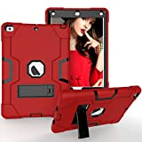 iPad 9.7 2018 / 2017 Case, VUV Three Layer Heavy Duty Kickstand Shockproof Protective Case Cover for Apple iPad 9.7-inch 5th 6th generation Retina Display (Red)