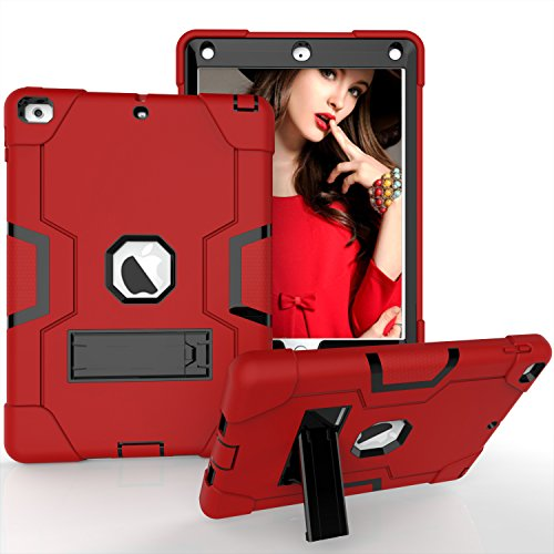 iPad Air Case, iPad 5 Case, Beimu 3in1 Combo Hybrid Heavy Duty Armor Full-body Holster Rugged Defender Protective Built-in Kickstand Case for Apple iPad 5/iPad Air Red+black