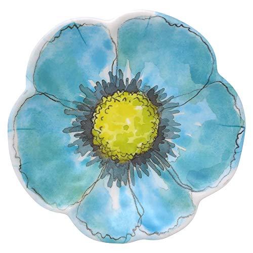 Merritt Floral Sketchbook 7.5-inch Melamine Salad Plate, Blue, Set of 6 Bouquet Blue Salad Plate