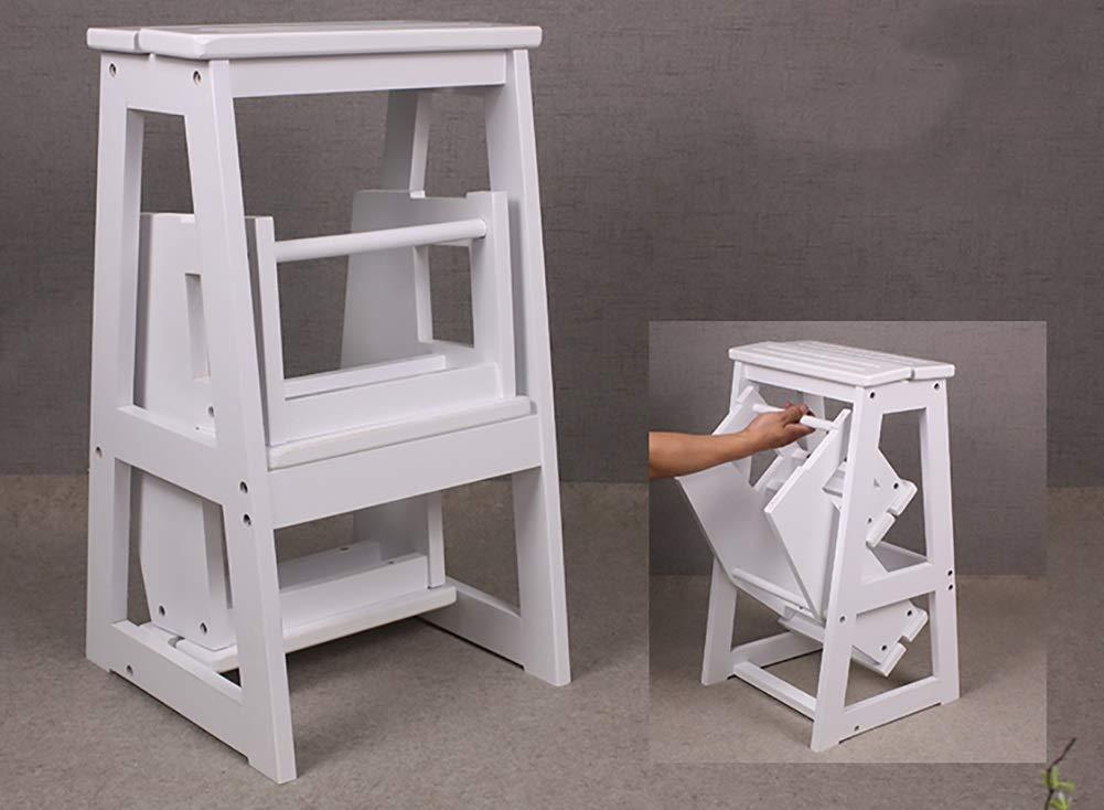 Scaletta pieghevole a tre gradini sgabello da cucina in legno