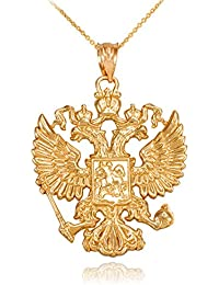 14k Gold Russian Coat of Arms Slavic Crest Double-headed Eagle Pendant Necklace