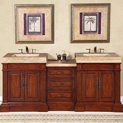 Cheap  Silkroad Exclusive HYP-0219-T-VT-83 Travertine Integral Sink Bathroom Double Vanity Modern Cabinet, 83