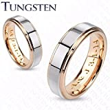 Personalized Two Tone Tungsten Couple's Ring Set Custom Engraved Free