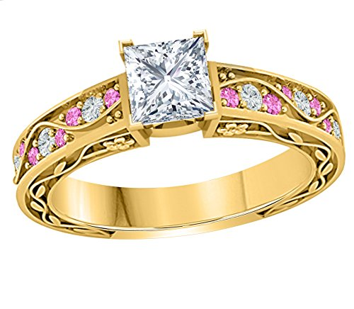 Jewelryhub Gorgeous 1.00 CT Princess Cut CZ Diamond & CZ Pink Sapphire 14k Yellow Gold Finish Sterling Silver Flower Look Cute Engagement Wedding Ring For Womens (Solid Gold Cz Engagement Ring)