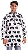 Indian 100% Cotton Men's Shirt Kurta White Color 10 Pcs Lot Elephant Print Plus Size loose fit
