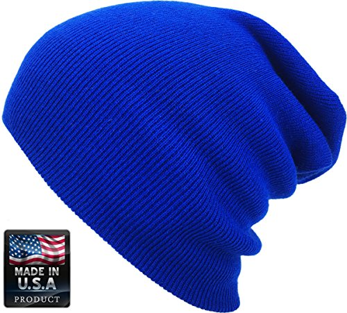 Blue Beanie Hat (SKIHAT-Long Roy Thick Beanie Skully Slouchy & Cuff Winter Hat Made In USA)
