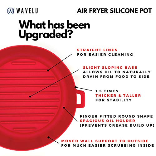 WaveLu Air Fryer Silicone Pot - [UPGRADED] Food Safe Air fryers Oven Accessories | Replacement of Flammable Parchment Liner Paper | No More Harsh Cleaning Basket After Using Airfryer (5.3QT or bigger)