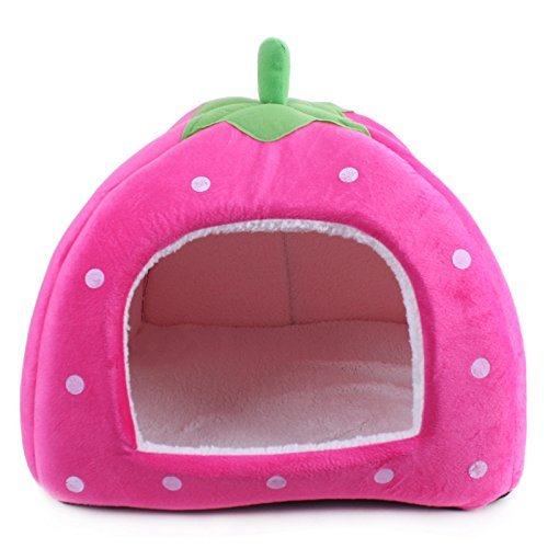 51sufReZf0L - Komia Strawberry Style Dog Small House Cave Soft Pet Bed Modern Puppy Dog Cat Bed Covers