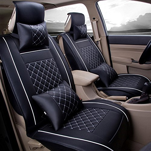Super PDR PU Leather Universal Auto Car Seat Mat Covers Set (front seat cover black&white)