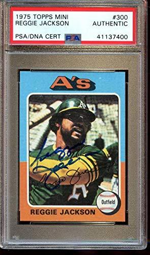 1975 Topps Mini Baseball Card #300 Reggie Jackson Autographed PSA Authentic - Baseball Slabbed Autographed Cards
