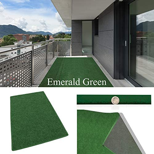 Emerald Green Indoor Outdoor Carpet Patio Pool Area Rugs Runners and Doormats – Easy Maintenance – Just Hose Off Dry 12 x 20