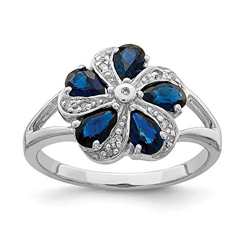 925 Sterling Silver Sapphire Diamond Band Ring Size 6.00 Stone Flowers/leaf Gemstone Fine Jewelry Gifts For Women For Her ()