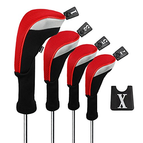 - Andux Golf 460cc Driver Wood Head Covers with Long Neck and Interchangeable No. Tags Pack of 4 (Red) MT/MG30