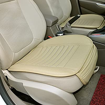 Comfortable and Breathable PU Leather Bamboo Charcoal Car Front Seat Protection Cover Pad Breathable Cushion(beige)CHIAE