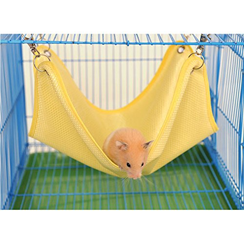 Zehui Mini Pet Hamster Summer Mesh Breathable Cage Hammock Swing Hanging Bed Perfect for Small Pets Hammock Yellow (Prevue Swing)