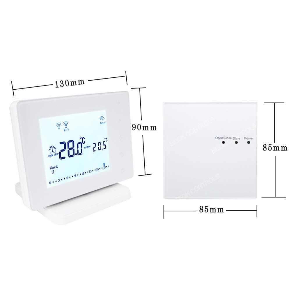 Aliment/é par AC 200-240V Beok Am/éliorer BOT306RF-WIFI RF Sans Fil Thermostat dAmbiance Programmable avec Grand /écran Tactile LCD pour Chaudi/ère /à Gaz Fonctionne avec Google Assistant /&  Alexa