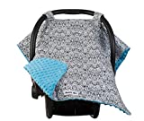 Maddie Moo Carseat Canopy with Teal Minky, Car Seat Canopy for Popular Baby Carseat Models, Breathable Soft Fleece Fabric