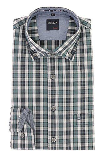 OLYMP Herren Casual Freizeithemd Langarm mit Button Down Kargen Comfort Stretch 100% Baumwolle Gr.M Grün Blau Kariert