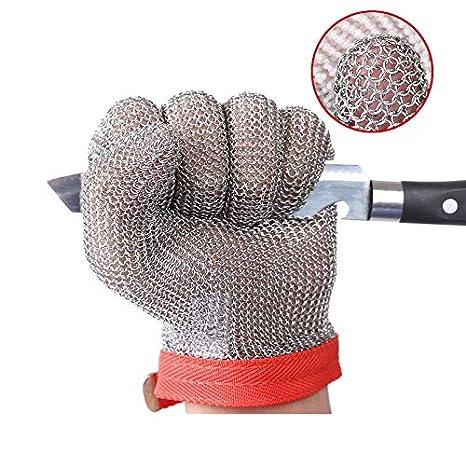ThreeH Guantes de acero inoxidable de malla Prueba de corte resistente a las puñaladas Guantes de seguridad para cortar el trabajo de corte GL08 M(1 ...