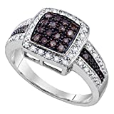 Jewels By Lux 10kt White Gold Womens Round Cognac-brown Color Enhanced Diamond Square Cluster Ring 1/2 Cttw In Pave Setting (I2-I3 clarity; Brown color)