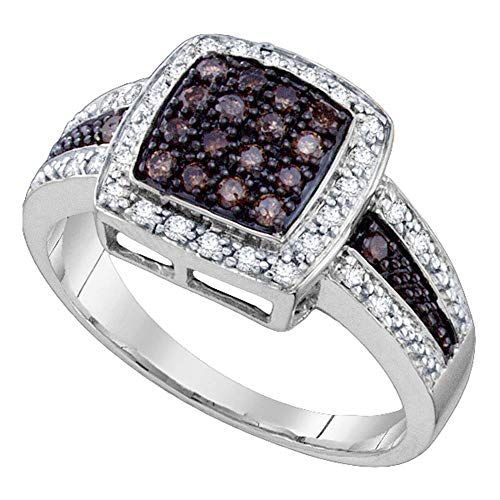 Ladies Ring Genuine Diamond 10kt White Gold Round Cognac-brown Color Enhanced Square Cluster Ring 1/2 Cttw