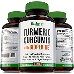 Turmeric Curcumin with Bioperine (Black Pepper). 100% Natural Supplement, Antioxidant & Pain Relief. Anti-Inflammatory and Digestive Support. Promotes Skin & Cardiovascular Health. Made in USA.
