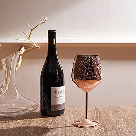 SKYFISH - Juego de 2 Copas de Vino de Acero Inoxidable grabadas con Grabados barrocos intrincados y auténticos, Estilo Real, 17 oz