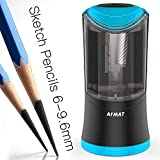 Electric Long Point Pencil Sharpener for Artists, Automatic Long Point Sharpener for 6-9.6mm Pencils, Drawing Pencil Sharpener, Rechargeable Fat Pencil Sharpeners for Prismacolor Sketching/Charcoal/Co