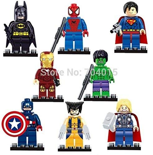 Toy Innovation- Super Heroes Series 8 Pcs Set Action Mini Figures Building Block Toys New Kids Gift Compatible with LEGO