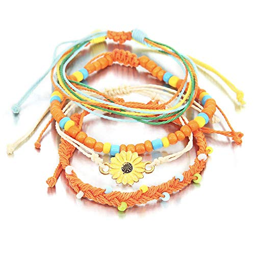 (SUNSH 4PCS Handmade Braided Friendship Bracelets for Women Girls Sunflower Charm Hippie Boho Beach Surf Wrap Woven Bracelet Wax String)