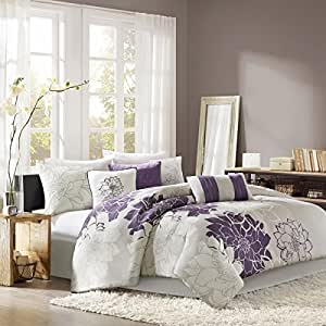 Amazon.com: D&H 7 Piece Violet Purple Grey Stunning Floral ...