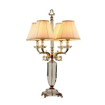 Lámpara De Mesa Lámpara De Mesa Clásica De Cristal De Oro De ...