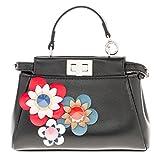 Fendi Women's Micro Peekaboo Floral Embellished Satchel Black