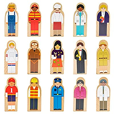 Imagination Generation Little Professionals Wooden Character Set (15 Pieces): Toys & Games