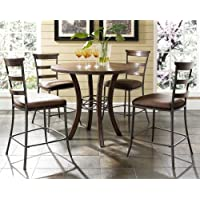 5-Piece Counter Height Round Wood Dining Set