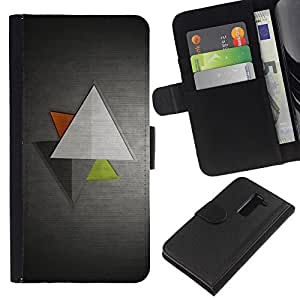 All Phone Most Case / Oferta Especial Cáscara Funda de cuero Monedero Cubierta de proteccion Caso / Wallet Case for LG G2 D800 // Triangle Geometrical Art Green Red Modern