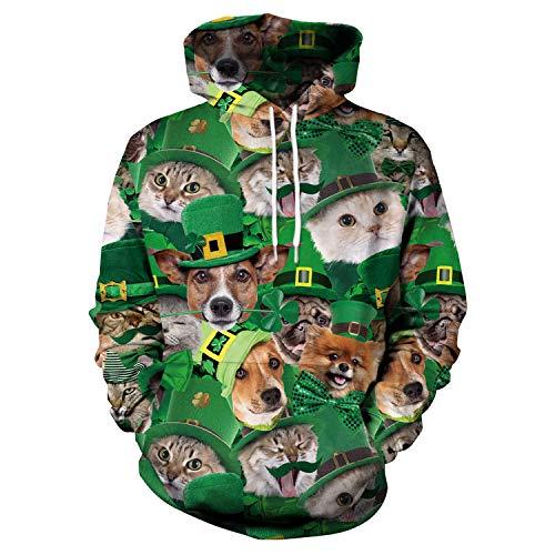 Little Hunter Plus Size Unisex 3D Digital Print Galaxy Pullover Hoodies Pockets Sweatshirt