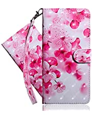 IMEIKONST Flip Hoesjes for Samsung A32 5G, 3D Painted PU Leather Cover Card Holder Wallet with Magnetic Clasp Stand Protection Compatible with Samsung Galaxy A32 5G. Pink Peach Blossom BX